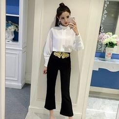 Bloombloom - Set: Chiffon Blouse + Embroidered Cropped Boot Cut Pants