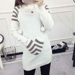 lilygirl - Striped Pompom Hooded Long Sweater
