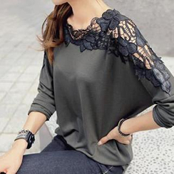Dream Girl - Lace Panel Long-Sleeve Top