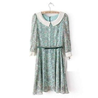 Flower Idea - 3/4 Sleeve Floral A-Line Dress