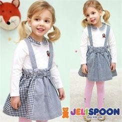 JELISPOON - Girls Set: Plaid Suspender Skirt + Collared Top
