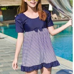 DJ Design - Striped Short-Sleeve Swimdress