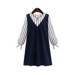 VIZZI - 长袖假两件A字连衣裙