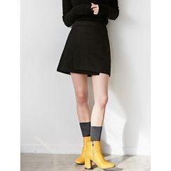 FROMBEGINNING - Band-Waist Slit-Front Mini Skirt