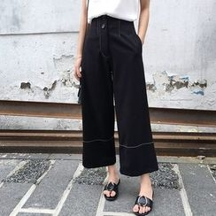 forever fair - Contrast Trim Cropped Wide Leg Pants