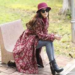 Diosa - Floral Print Fleece Lined Long Hooded Jacket