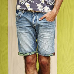 Simwood - Camouflage Trim Denim Shorts