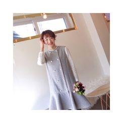 LEELIN - Sleeveless Ruffle-Hem Wool Blend Midi Dress