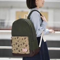 SUPER LOVER - Appliqué Patterned Canvas Backpack