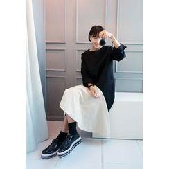STYLEBYYAM - 翻边叁角摆插色连衣裙