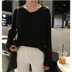 ALIN STYLE - V-Neck Long-Sleeve T-Shirt