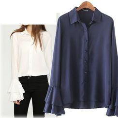 Coronini - Flare Cuff Chiffon Shirt