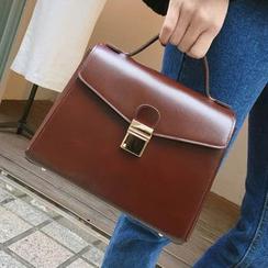 TZ - Faux Leather Handbag with Shoulder Strap