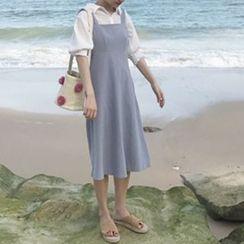 YUKISHU - Plain Midi Pinafore Dress