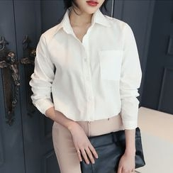 DANI LOVE - Pocket-Front Plain Cotton Shirt