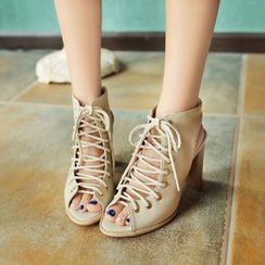 JY Shoes - Peep Toe Lace Up Pumps