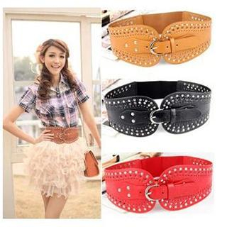 Charm n Style - Studded Perforated Elastic Belt