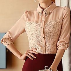 Yohana - Lace Panel Chiffon Shirt