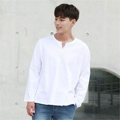 BYMONO - Open-Placket Long-Sleeve T-Shirt