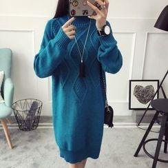 Qimi - Turtleneck Knit Dress