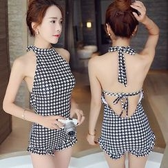 Little Dolphin - Houndstooth Halter Swimsuit