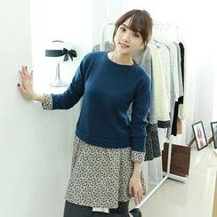 Dodostyle - Floral Patterned Knit-Panel A-Line Dress