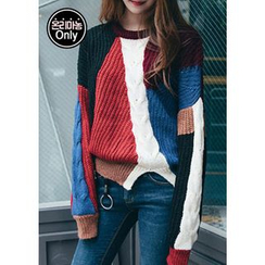 Chlo.D.Manon - Color-Block Cable-Knit Sweater