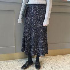 Dute - Floral Print Midi A-Line Skirt