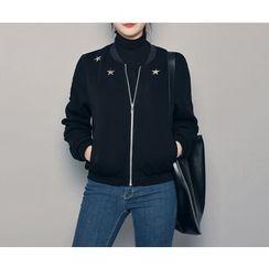 HOTPING - Star Appliqué Zip-Up Jacket
