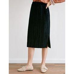 FROMBEGINNING - Pleated Velvet Midi Skirt