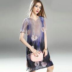 Queen Mulock - Short-Sleeve Printed Dress