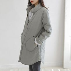 JUSTONE - Stand-Collar Snap-Button Quilted Coat