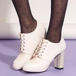 YIYA - Chunky Heel Lace-Up Shoes