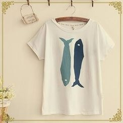 Fairyland - Short-Sleeve Fish Print T-Shirt