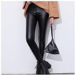 森之誠品 - 仿皮窄身長褲