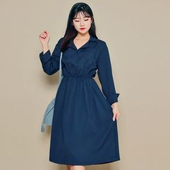 HOTPING - Notched-Lapel Gather-Waist Dress