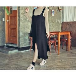 HOTPING - Slit-Side Knit Suspender Dress