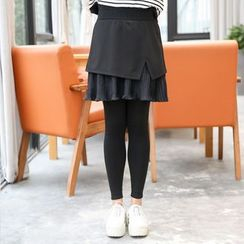 Hennson - Inset Pleated Hem Skirt Leggings