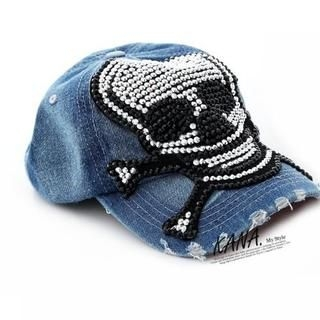 KANA - Skull-Sequined Denim Cap