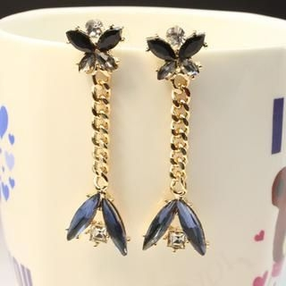 Supermary - Rhinestone Chain Drop Earrings