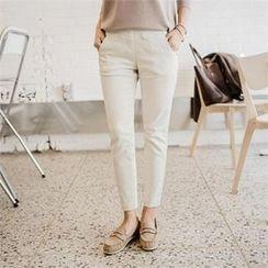 JOAMOM - Band-Waist Flat-Front Pants