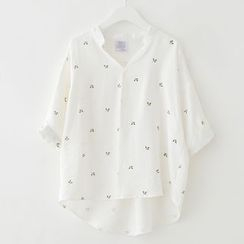 Meimei - Floral V-neck Short-Sleeve Blouse