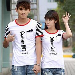 Igsoo - Couple Lettering Panel T-Shirt