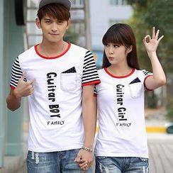 Igsoo - 情侶字母拼接 T 恤