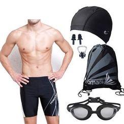 Aqua Wave - Set : Swim Cap + Ear Plugs + Nose Clip + Drawstring Bag + Goggles + Swim Trunks