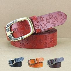 LONGMA - Floral Genuine Leather Belt