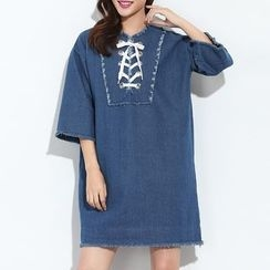 Myrtle - Lace-Up Denim Shift Dress