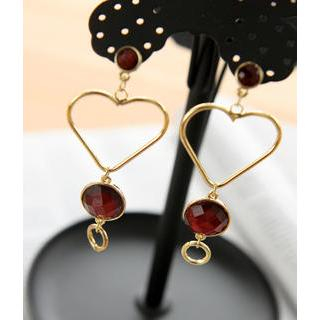 Petit et Belle - Heart Jewel Drop Earrings