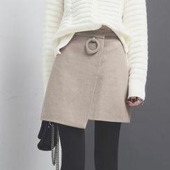 Sonne - Asymmetric A-Line Wool Skirt