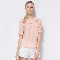 O.SA - Ruffled Pintuck Blouse